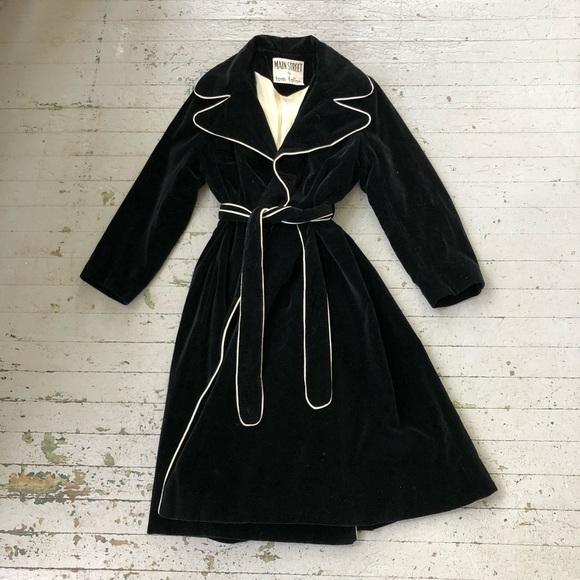 sale retailer detailed look official site Pop Art Style 1960's Black Velvet Trench Coat